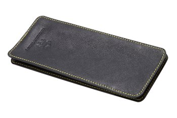 Leather softcase black with yellow thread