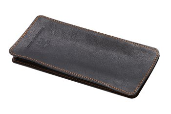 Leather semi case black with orange thread
