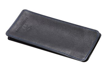 Leather semi case black with blue thread
