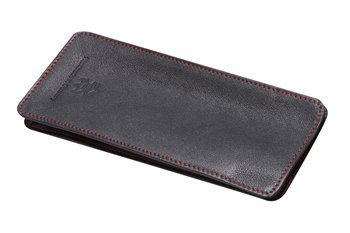 Leather semi case black with red thread