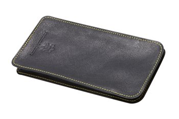 Leather case black with yellow thread