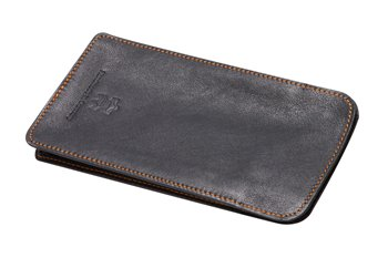 Meriva Leather case L black with orange thread