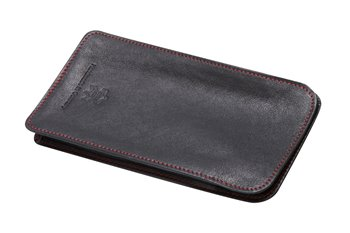Meriva Leather case L black with red thread